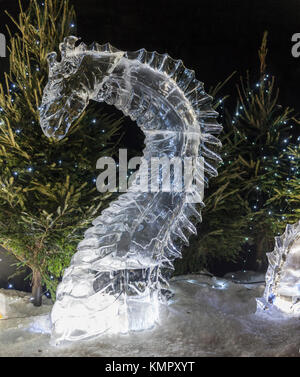 Ice sculpture representing Nessie, the Loch Ness monster, as part of the Ice Adventure, during Edinburgh's Christmas, - Stock Photo