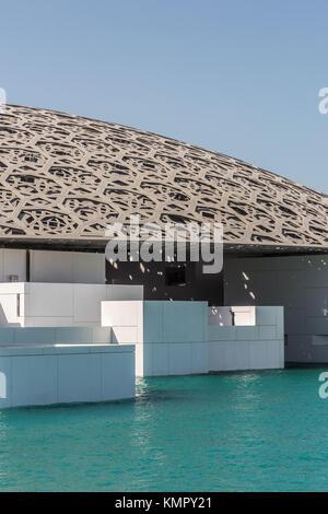 Abu Dhabi, United Arab Emirates, December 5, 2017: The Louvre on Saadiyat Island. - Stock Photo