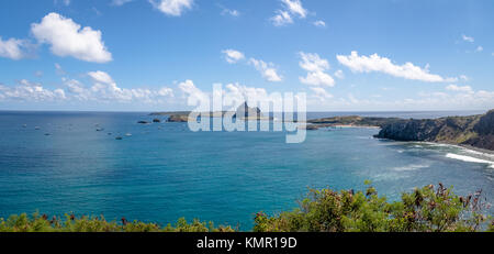 Panoramic aerial view of Porto de Santo Antonio (Santo Antonio Port) and secondary islands  - Fernando de Noronha, - Stock Photo