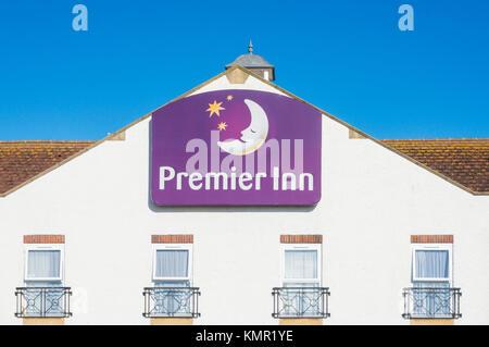 England Premier inn logo premier inn sign on front of hotel building premier inn facade premier inn hotel chain - Stock Photo