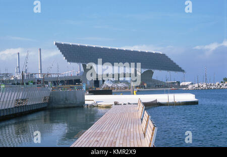 Photovoltaic pergola (3700 m2), Forum 2004. Barcelona. Spain - Stock Photo