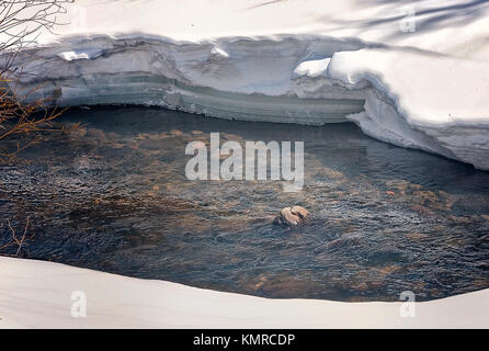 Spring is Coming to the Rocky Mountains As Frozen Streams Flow Again - Stock Photo