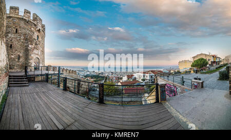Panoramic View of Thessaloniki city, from Trigoniou Tower, Greece - Stock Photo