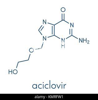 Aciclovir (acyclovir) antiviral drug molecule. Used in treatment of herpes simplex virus (cold sores), herpes zoster - Stock Photo