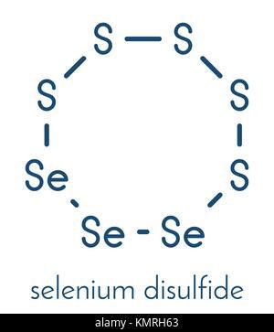 Selenium disulfide dandruff shampoo active ingredient molecule. Selenium sulfide has antifungal properties. Skeletal - Stock Photo