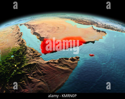 Morning above Yemen highlighted in red on model of planet Earth in space. 3D illustration. Elements of this image - Stock Photo
