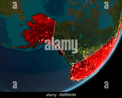 Map Of Usa At Night.Night Map Of Usa As Seen From Space On Planet Earth 3d Illustration