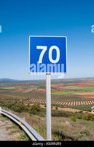 Maximum recommended speed road sign. Los Yébenes, Toledo province, Castilla La Mancha, Spain. - Stock Photo