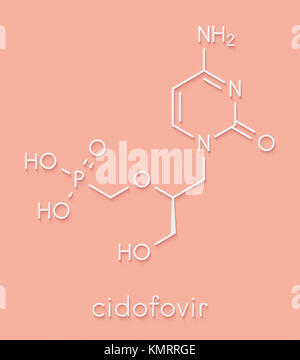 Cidofovir cytomegalovirus (CMV, HCMV) drug molecule. Can probably also be used against smallpox infection. Skeletal - Stock Photo