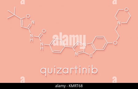 Quizartinib investigational acute myeloid leukemia (AML) drug, chemical structure Skeletal formula. - Stock Photo