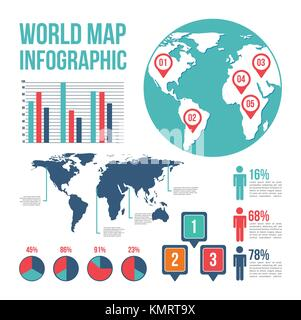 world map pointer differents country infographic chart people - Stock Photo