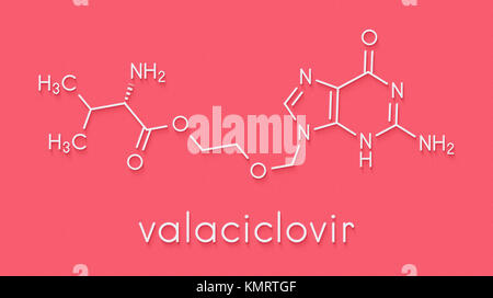 Valaciclovir (valacyclovir) herpes infection drug molecule. Skeletal formula. - Stock Photo