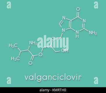 Valganciclovir cytomegalovirus (CMV, HCMV) drug molecule. Skeletal formula. - Stock Photo