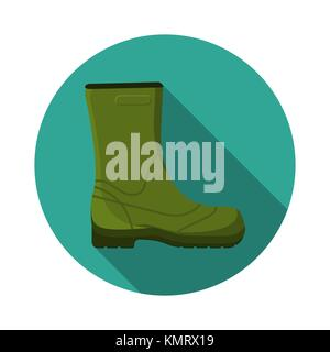Flat design modern vector illustration of rubber boot icon, camping, hiking and fishing equipment with long shadow. - Stock Photo