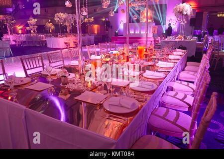 Table Decorations At High End Hotel Wedding Reception Event Stock
