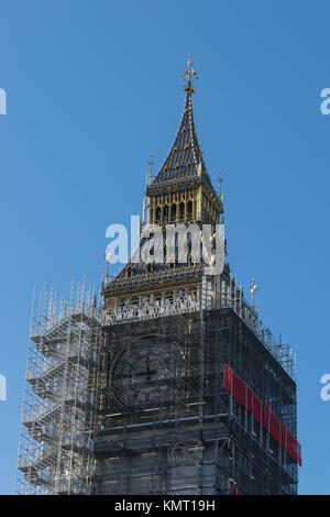 LONDON, UK - October 17th, 2017: close up of Scaffolding around the Elizabeth Tower, more commonly known as Big - Stock Photo