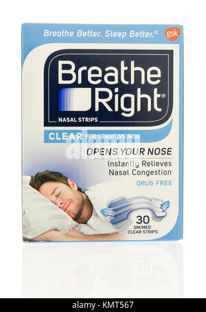 Winneconne, WI - 1 December 2017:  A package of Breathe Right nasal strips on an on an isolated background. - Stock Photo