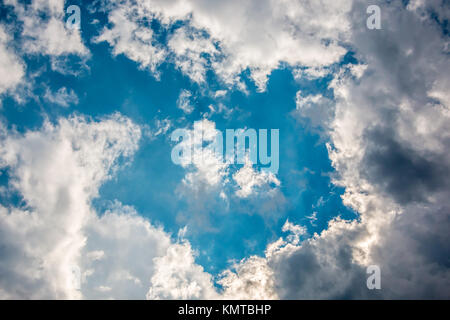 The deep blue sky and white clouds - Stock Photo