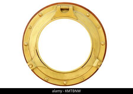 Round golden brass boat porthole window isolated on white - Stock Photo