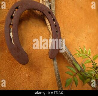 aged rusty horseshoe on the orange wall, good luck - Stock Photo