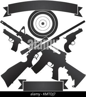 Crossed Hunting Rifle and Semi-Automatic Rifle with Pistols and Target plus Banners Vector Illustration - Stock Photo