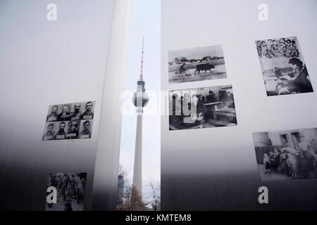Marx and Engels forum and Television tower in Alexander Platz, Berlin, Germany, Europe - Stock Photo