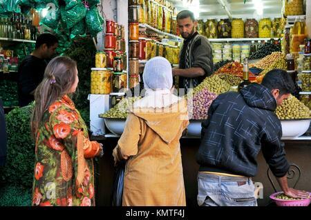 Olives sale at Medina´s souk, Marrakech, Morocco, Africa, december 2009 - Stock Photo