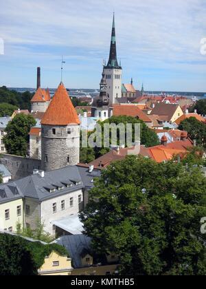 Tallinn old city from a viewpoint  Estonia - Stock Photo