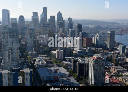 View of central Seattle from the Space Needle - Stock Photo