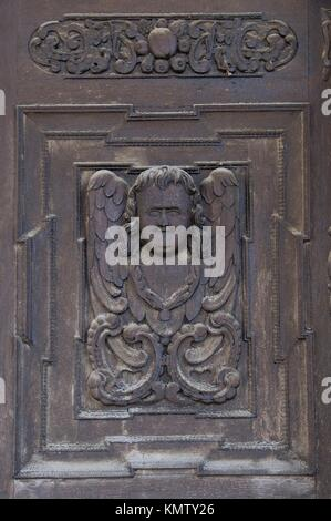 Sibiu, Evangelic Church, Carved Door, Transylvania, Romania - Stock Photo