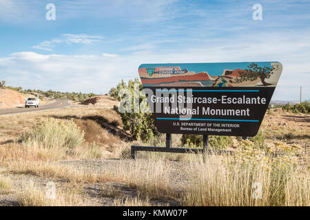 Grand Staircase-Escalante National Monument sign on the side of a highway in Utah - Stock Photo