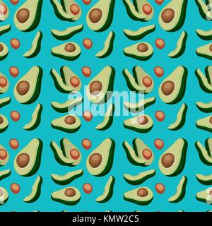 avocados sliced pattern in blue background - Stock Photo