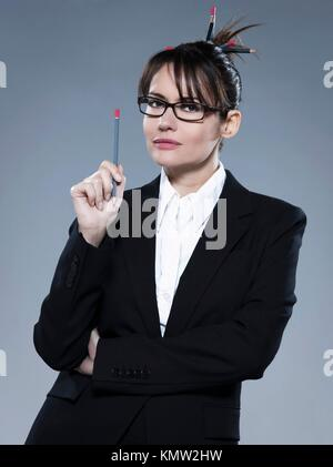 beautiful business woman on isolated background - Stock Photo