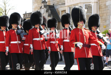A general view of atmosphere of Changing the Guard at WIndsor Castle on April 7, 2011 in Windsor, near London, England. - Stock Photo