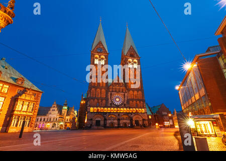 Ancient Bremen Market Square in Bremen, Germany - Stock Photo