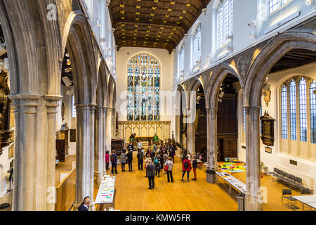 Interior of a small church (St Andrew Undershaft, London, UK) - Stock Photo