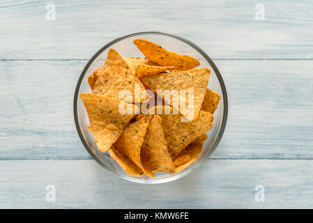 Nachos in the glass bowl - Stock Photo