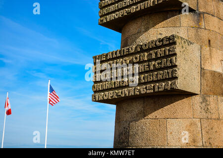 The Omaha Beach war memorial in Normandy France honoring soldiers who died during the invasion - Stock Photo