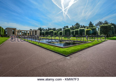 The Normandy American Cemetery and Memorial at Colleville-sur-Mer on the coast of France - Stock Photo