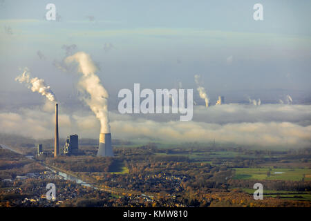 Coal-fired power plant, STEAG and RWE Power, joint power station Bergkamen A oHG, Datteln-Hamm-Canal, electricity, - Stock Photo