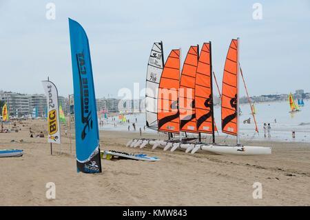 Catamarans on the beach of La Baule, Loire Atlantique, Pays de Loire, France - Stock Photo