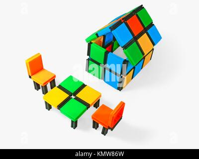 Close-up of a model home with Sitting Arrangement - Stock Photo