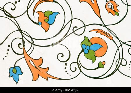 Flower ornament in St Basil´s Cathedral, Moscow - Stock Photo