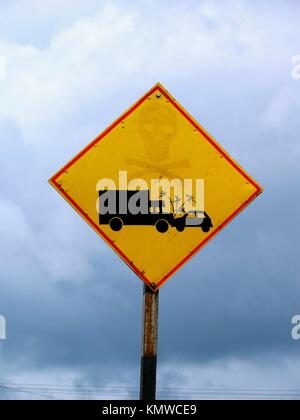 Warning Board, lorry and car accident