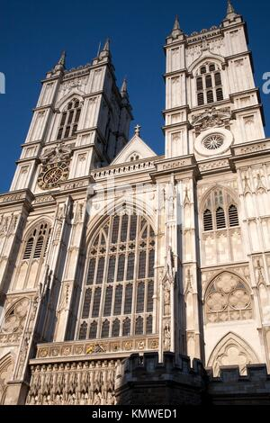 Main Facade of Westminster Abbey Church in London, England - Stock Photo