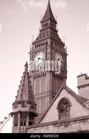 Big Ben in sepia black and white tone in London, England - Stock Photo