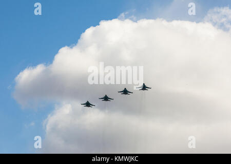 Russian fighters in the sky on the feast of victory day on 9 may. Saint-Petersburg, Russia - May 09, 2017. - Stock Photo