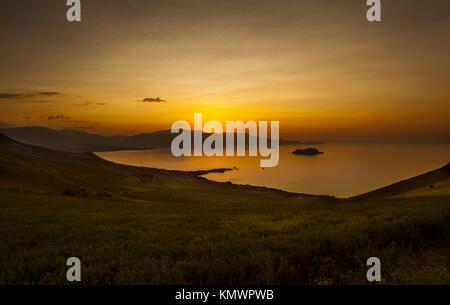 Sunset in Van lake - Turkey - Stock Photo