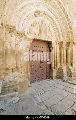 Salvador church in Aguero, Saragossa, Aragon, Spain - Stock Photo