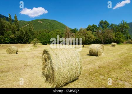 straw bales in Biescas, Huesca, Pyrenees, Aragon, Spain - Stock Photo